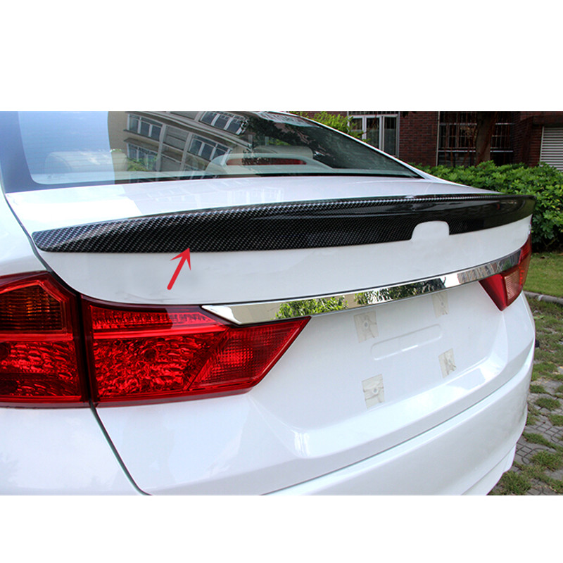 Car styling!Car Accessories 1pc Carbon fiber Rear Spoiler Wing Tail Trunk Spoiler Cover for Honda City 2014 2015 2016<br><br>Aliexpress