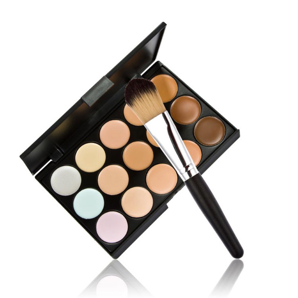 New 15 Colors Contour Face Cream Makeup Concealer Palette Powder Brush WLDE