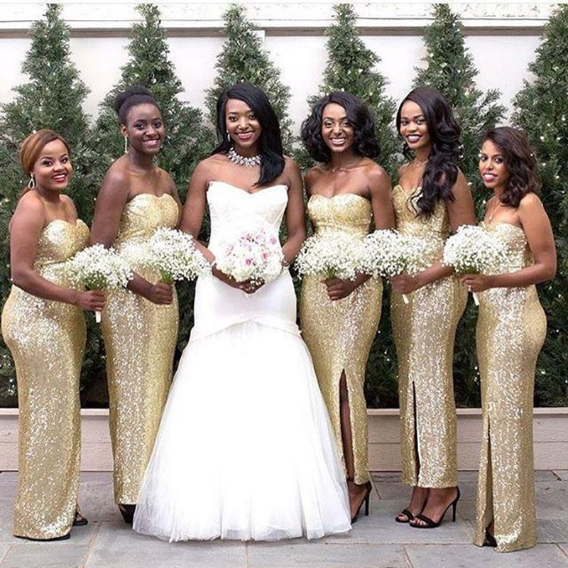 2016 new gold sequins sheath bridesmaid dresses front for Maid of honor wedding dresses