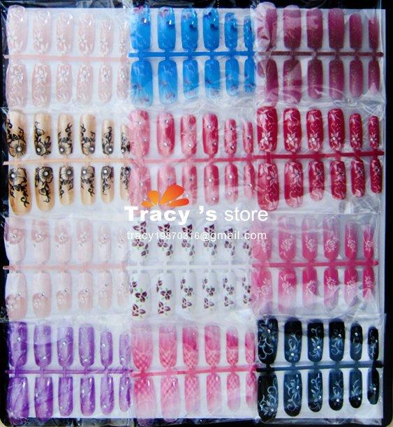 Free Shipping Acrylic 3D nail sticker designed False Nail Art Tips 144 pieces/set 10 sets/lot Wholesales(China (Mainland))