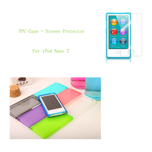 High Quality Candy Color Soft TPU Silicone Case cover for Apple iPod Nano 7 7G 7th generation with HD screen protective film(China (Mainland))