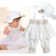 2016 Hot New Baby Girl Kid Pure White Summer 3 Piece Suit of Ruffle Top Pants Hat Outfit Clothes Costume Free Shipping(China (Mainland))