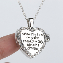 "New can open Heart Pendant Letter Pendant Necklace""With you I am Complete I need you like the air I breathe"" Mother's Day Gifts(China (Mainland))"