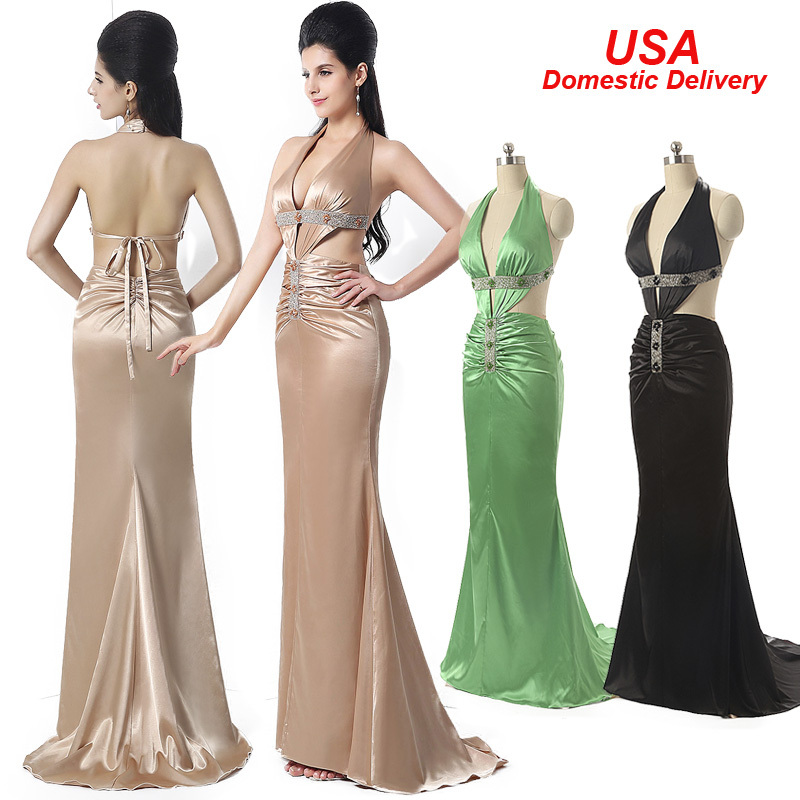 In Stock Long Sexy Backless Prom Dresses 2015 Beaded V-Neck Special Occasion Dresses Evening Dresses Gown Real Picture SD173(China (Mainland))