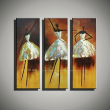 Buy 3 panel canvas wall art abstract Modern wall decor cheap ballet girl artwork picture oil painting set living room decoration for $49.90 in AliExpress store