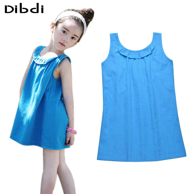 Retail Kids Girls Dresses Summer 2016 Cotton Children Clothing Ruffle Girls Sling Dress Backless Girl Sundress Beach Wear CA372(China (Mainland))