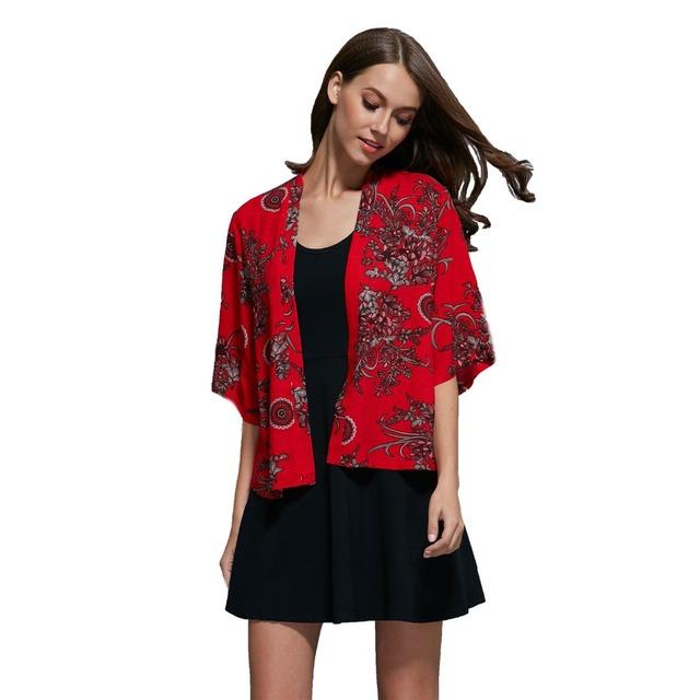 2016 мода женский короткие топы шифон блузки вышивка цветочные кимоно дамы старинные ...