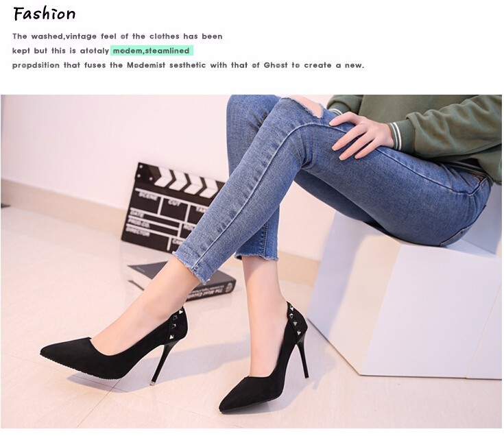 2017 spring New Fashion Sexy women High Heels Pumps shoes Pointed Toe Slip on Wedding Shoes  riveting high-heeled shoes