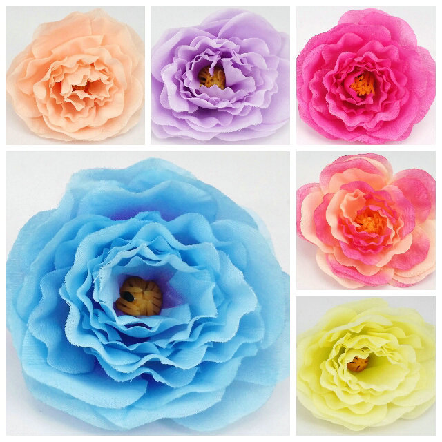 Artificial Silk peony Flower Heads Wedding decoration Wedding fabric flowers sale free shipping(China (Mainland))