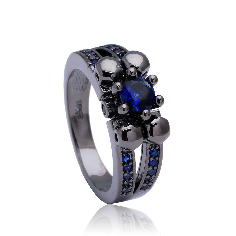 Royal Blue Sapphire Black Gun Rings for women 7/8/9 hot flower design paved Czech diamond cheap Wedding band Engagement Ring(China (Mainland))