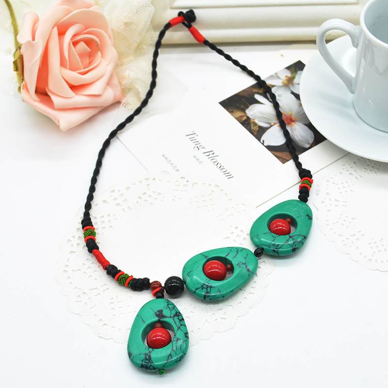Handmad Vintage Collares Ethnic Necklace Turquoise & Red Coral Beads Pendant Torques Choker Women Unique Jewelry F60*SS1041W(China (Mainland))
