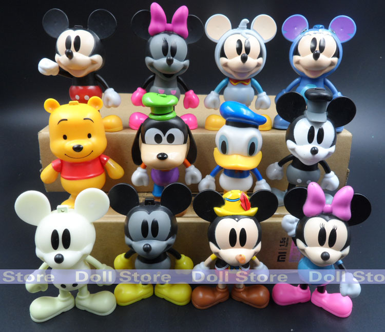 8cm 6pcs/12pcs/set 2015 Hot toys PVC Donald duck /Winnie bear/ Mickey action figure brinquedos kids toys juguetes(China (Mainland))