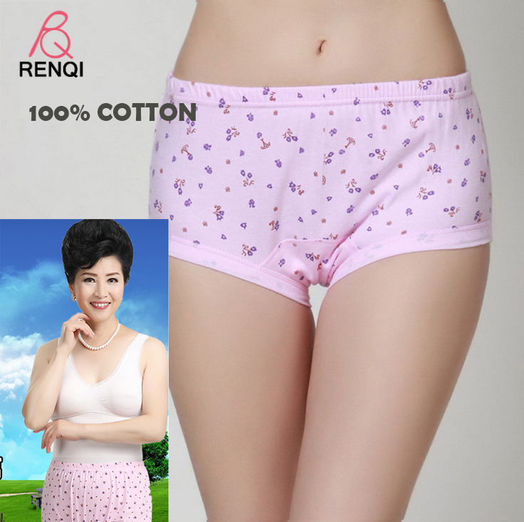 middle-aged and old cotton underwear women's cotton high waist panties big yards of cotton briefs mother briefs