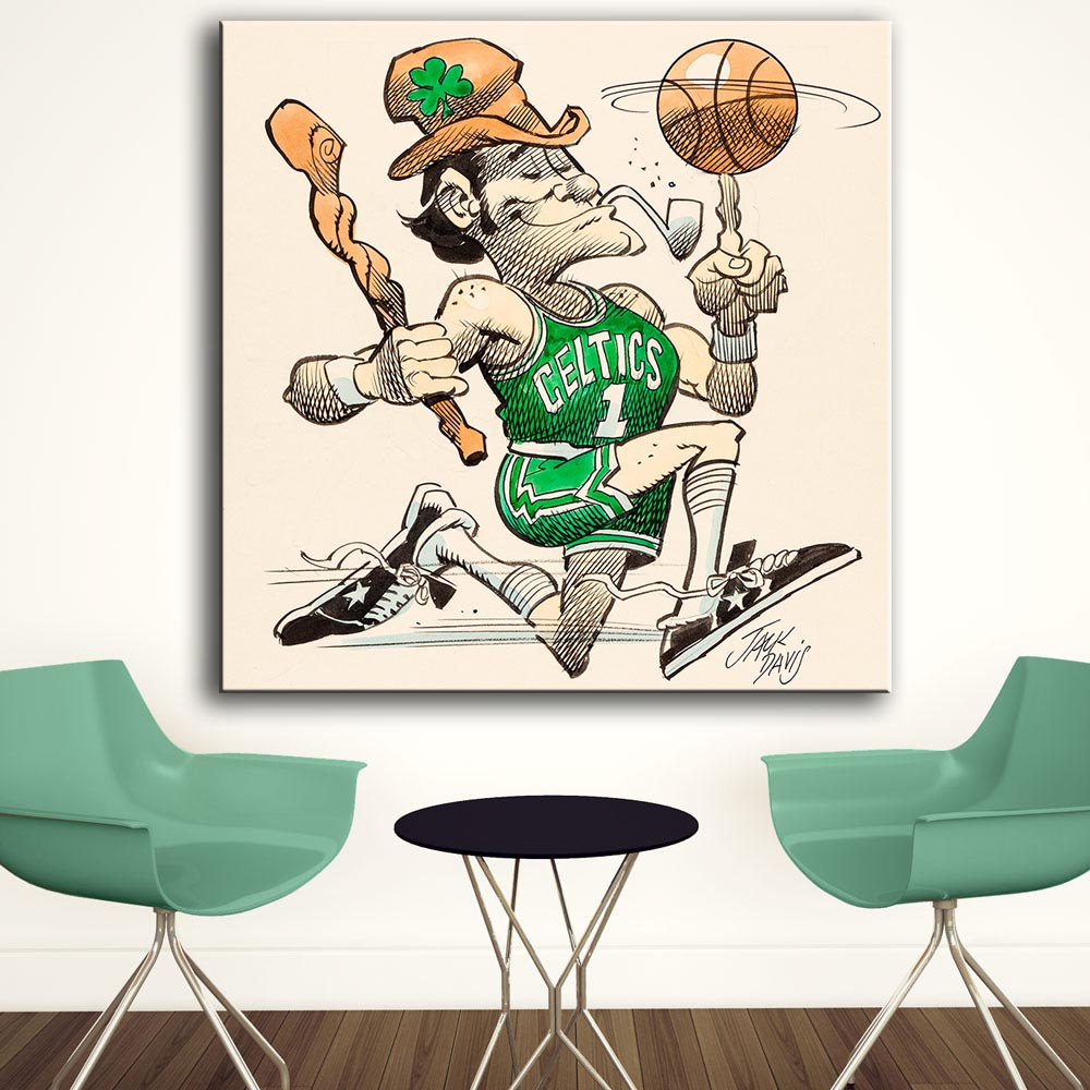 Huge Printing Oil Painting Wall painting Boston Celtics Basketball by jack davis Wall Art Picture For Living Room(China (Mainland))