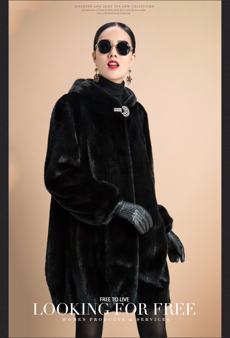 Fur Coat Female Outerwear Top Raccon Dog Fur Jacket With Fur Collar Long Design Women 2016 Winter Overcoat Thick Warm Size S-6XL