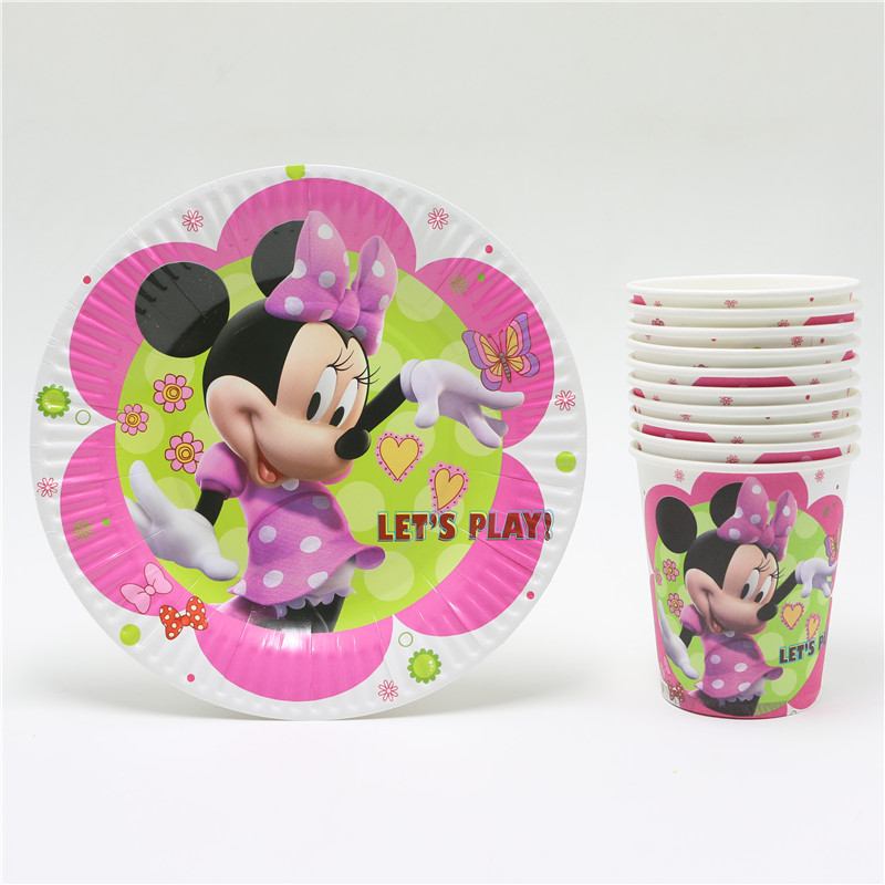 20pcs minnie mouse cartoon kids girls birthday party set disposable decorations paper plates +paper cups/glass party supplies(China (Mainland))