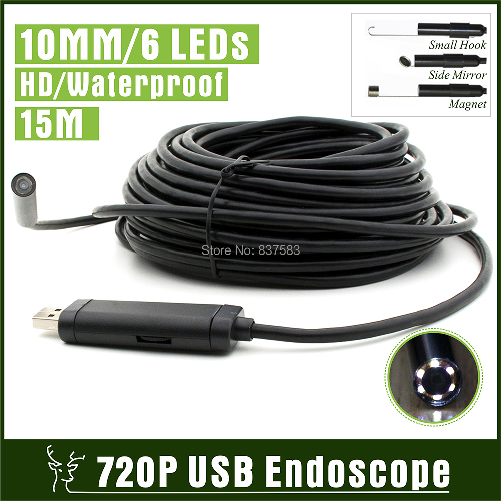 15M Waterproof USB Endoscope HD Snake Camera 720 Inspection Camera Borescope 10MM LENs with 6 LEDs Snake Tube Camera 1280x720P(China (Mainland))