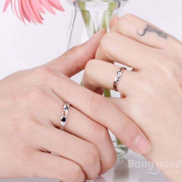 SoCool Engraved Angel Wings Love Wedding Couple Rings Valentines Day(China (Mainland))