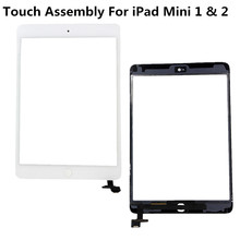 For iPad Mini Touch Screen Digitizer Assembly With Home Button Flex Cable White Color With Track Code For iPad A1455 A1456(China (Mainland))