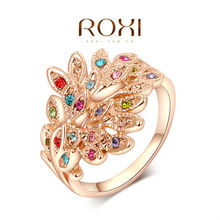 """Roxi Fashion Women's Jewelry High Quality Ring Rose Gold Plated """"Peacock """" Round Pave Austrian Multi-Color Crystals"""