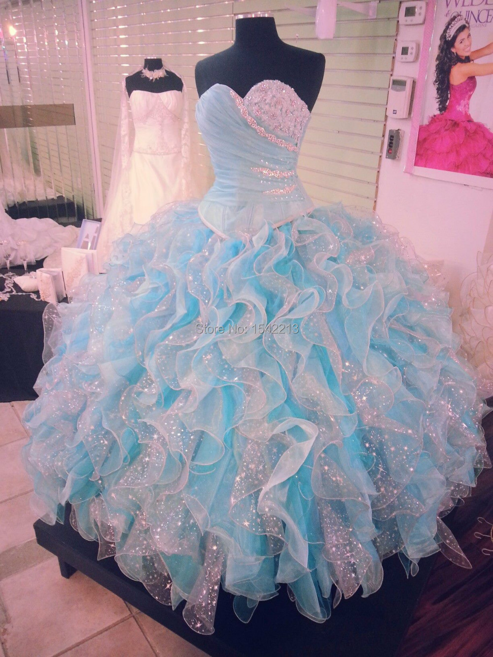 Light Blue And White Ball Gown Dress Sweetheart Long Vestidos De Quinceanera Dresses New Fashion 2015(China (Mainland))