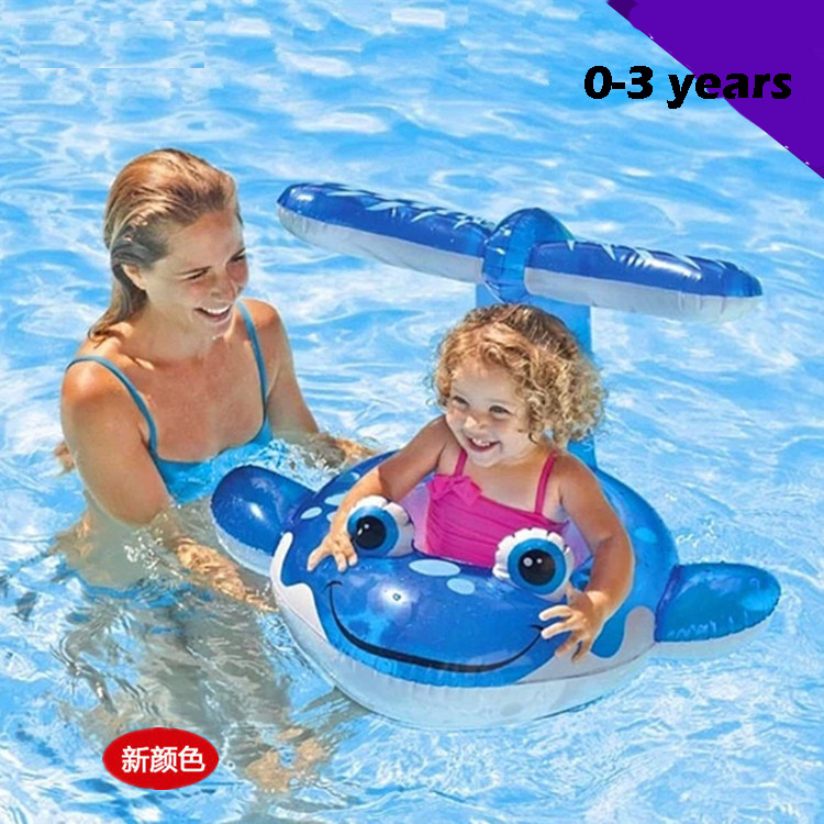 Baby pool seat 0-3years sunshade baby float Sunscreen swimming ring for baby plastic dolphin infant swim seat inflatable donut(China (Mainland))