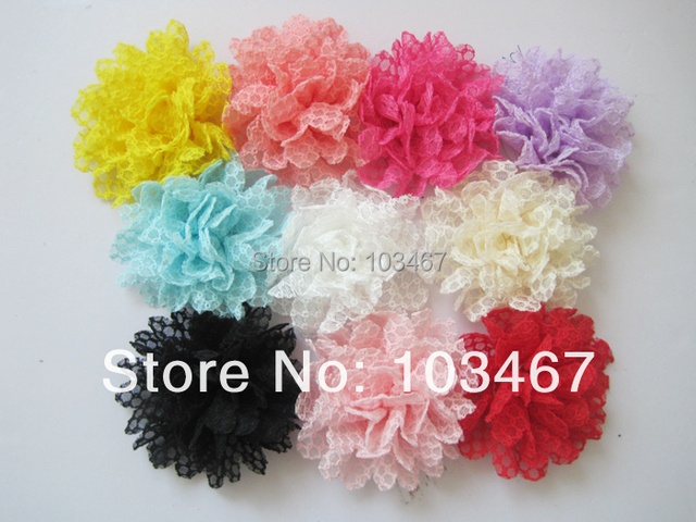 Newest flower30pcs/lot Lowest Price 10 colors 4'' Lace Flowers Without  Clip lowest price