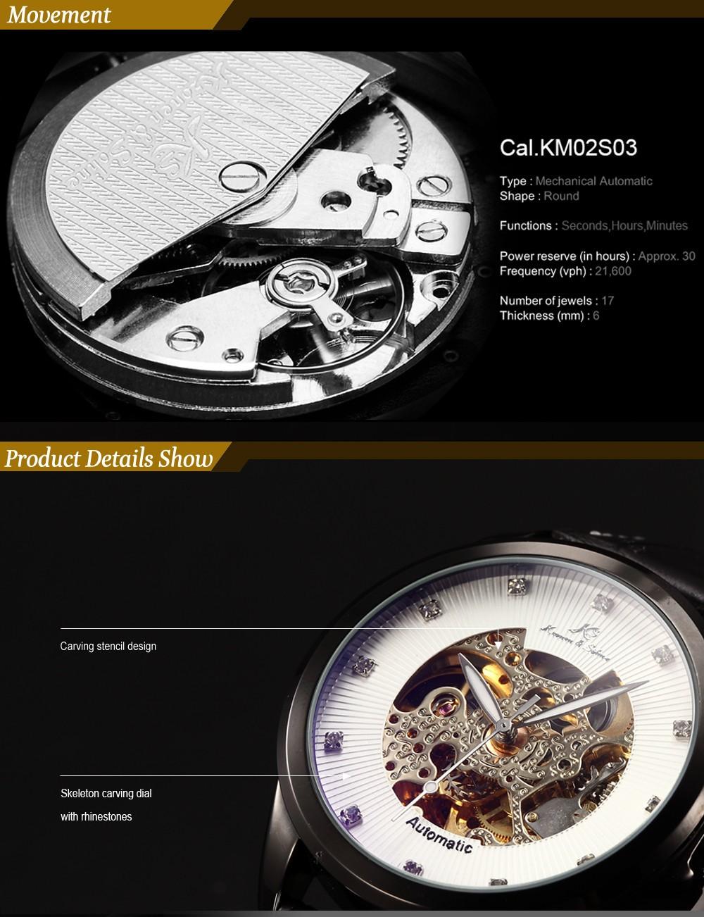 Ks Королевский Carving Skeleton Luxury Автоматические Механические Элегантное Платье Наручные Wrap Tag Рождественские Мужские Бизнес-Подарок Часы/KS102