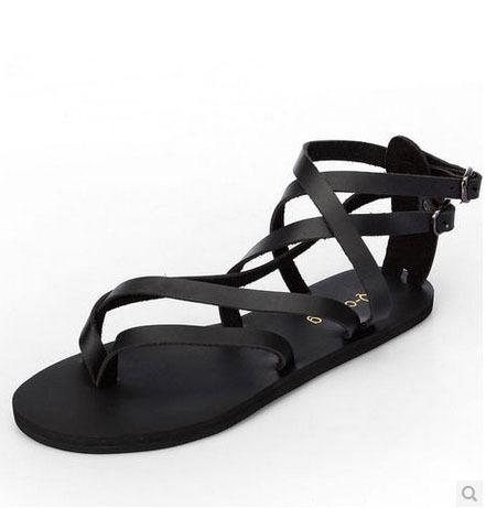 England Summer Fashion Flip Flops Sandals Men Flat Casual Genuine Leather Beach 36-44 - Online Store 7364670 store