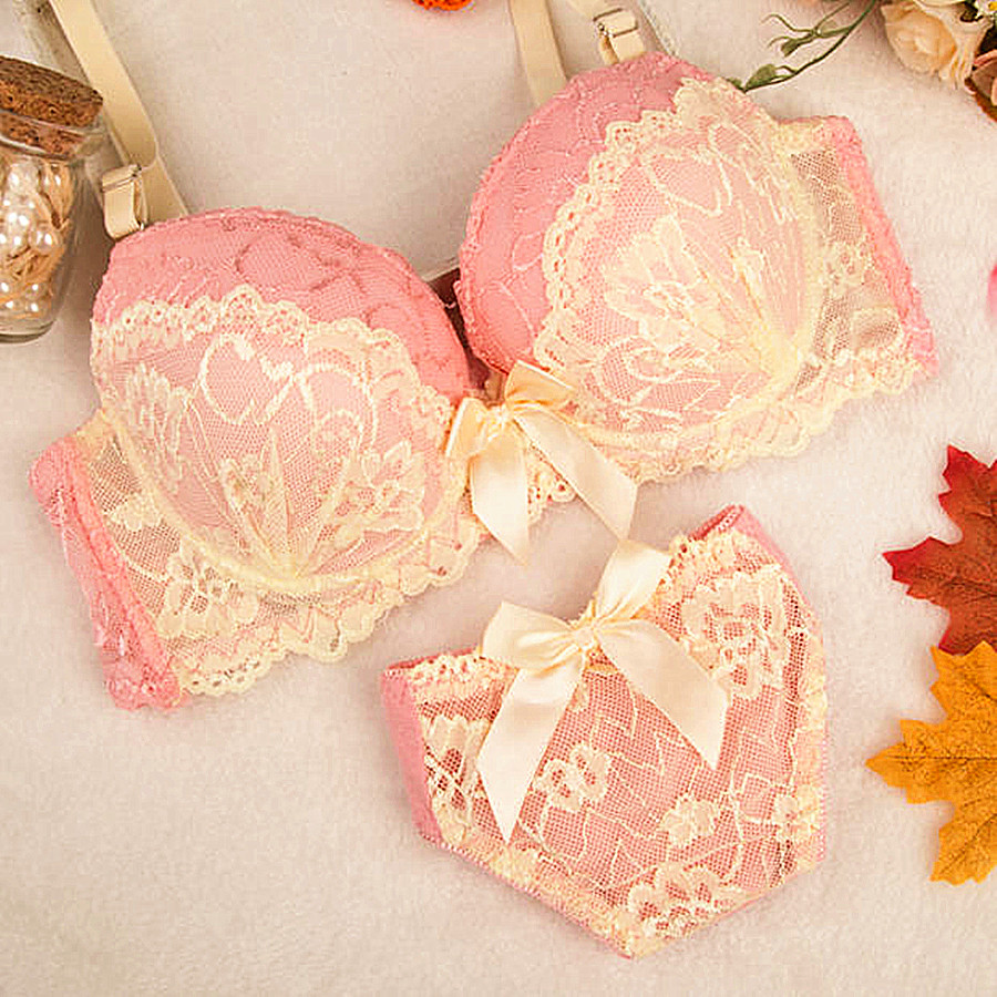 2016 new Intimates Double Layer Lace Bra Set Lingerie Push up Sexy Bra Lovely Underwear gathering Bra Briefs Embroidery H115-4