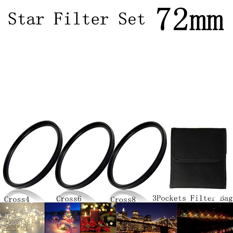 4 In 1 72mm Lens Star Light Filter Cross 8+6+4+Lens Filter Bag/4x+6X+8X +Wallet /4 6 8 Line+Case/4Pt+6PT+8pt Point +Tracking NO(China (Mainland))