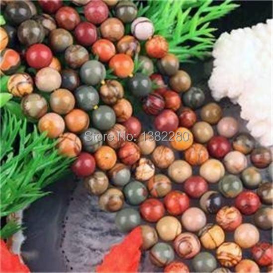 "Free shipping! Fashion jewelry DIY handmade beads 6MM PICASSO JASPER STONE ROUND BALL LOOSE BEAD 15"" JT5117(China (Mainland))"