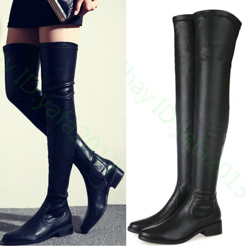 Thigh High Flat Leather Boots - Cr Boot