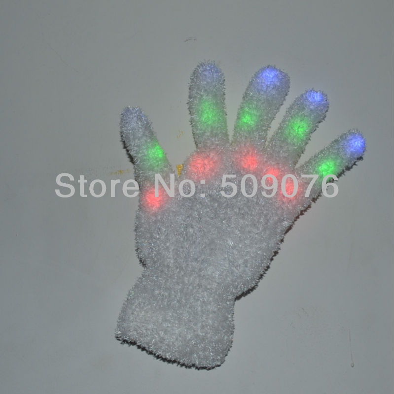 Free shipping 400pcs(200pairs) 7Modes white gloves led glove rave light led finger light gloves for event & party supplies(China (Mainland))