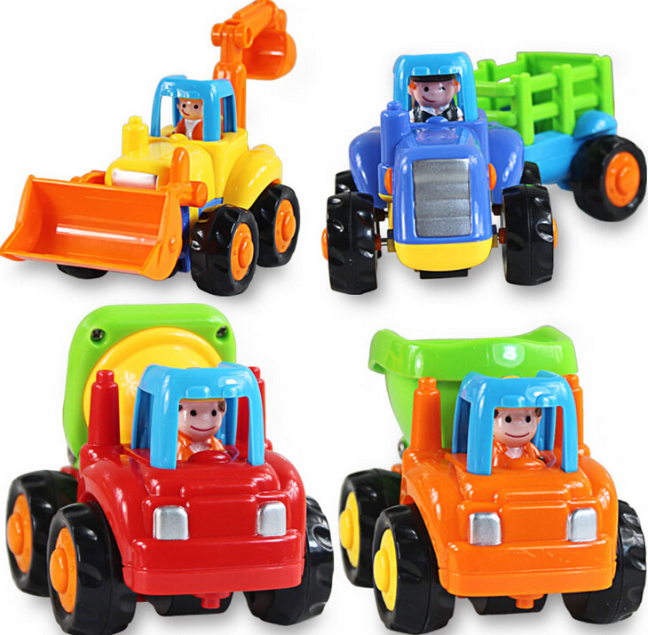 4pcs/lot Engineer Trucks Tractor Mixer Dumper Car Children Boys Instructive Toy pull back cars playing toys sand tools(China (Mainland))