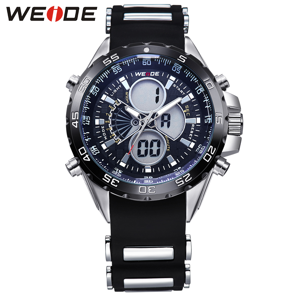 WEIDE Waterproof Analog Digital Men Sports Watches Dual Time Zones Alarm Stopwatch Date Display Silicone Strap Classic Design<br><br>Aliexpress