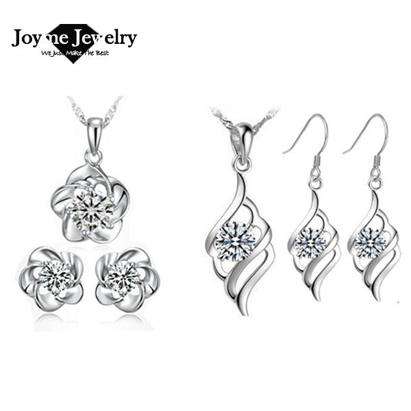 fashion women Jewelry set Silver Crystal Pendant Necklace Earrings Bridal jewelry - Joyme brand boutique store