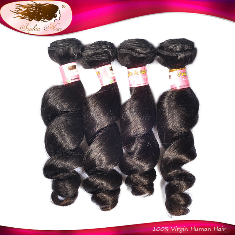 "Top Grade 7A Brazilian Loose Wave Virgin Hair Cuticle Intact Human Hair Weaving 4 Bundles 8""~30"" Factory Price Free Shipping(China (Mainland))"