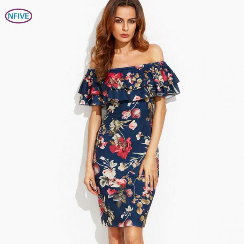 NFIVE Brand 2017 New Summer Women Explosion Strapless Slash Collar Ruffle Print Pencil Dress Fashion Sexy Leisure Holiday Dress(China (Mainland))