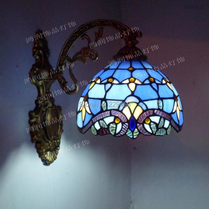 Stained Glass Light Fixtures Wall Sconces : Fashion Tiffany Wall Lamp European Baroque Mirror Bedroom Lamp Stained Glass Sconce Lamparas ...