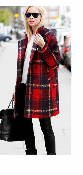Woolen dress Wool Blends coats autumn winter trench coat women's outwear jacket 2015 fashion Thick warm England plaid coat(China (Mainland))