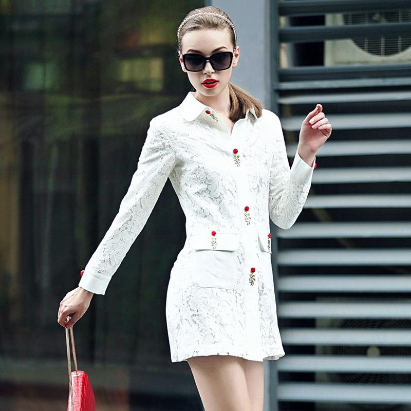 2015 fall clothes new women's casual fashion tide goods temperament elegant lace long-sleeved coat lapel trench women
