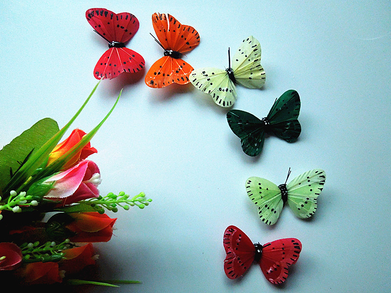 50pcs real feather butterfly fridge magnet room size is 6cm decorative decals(China (Mainland))
