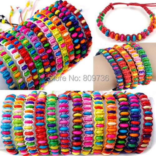 6pcs/lot Wholesale Braided Hemp Summertime Wish Bracelet Anklet with Beads Fashion Charm Bracelet for women Gift Drop Free(China (Mainland))