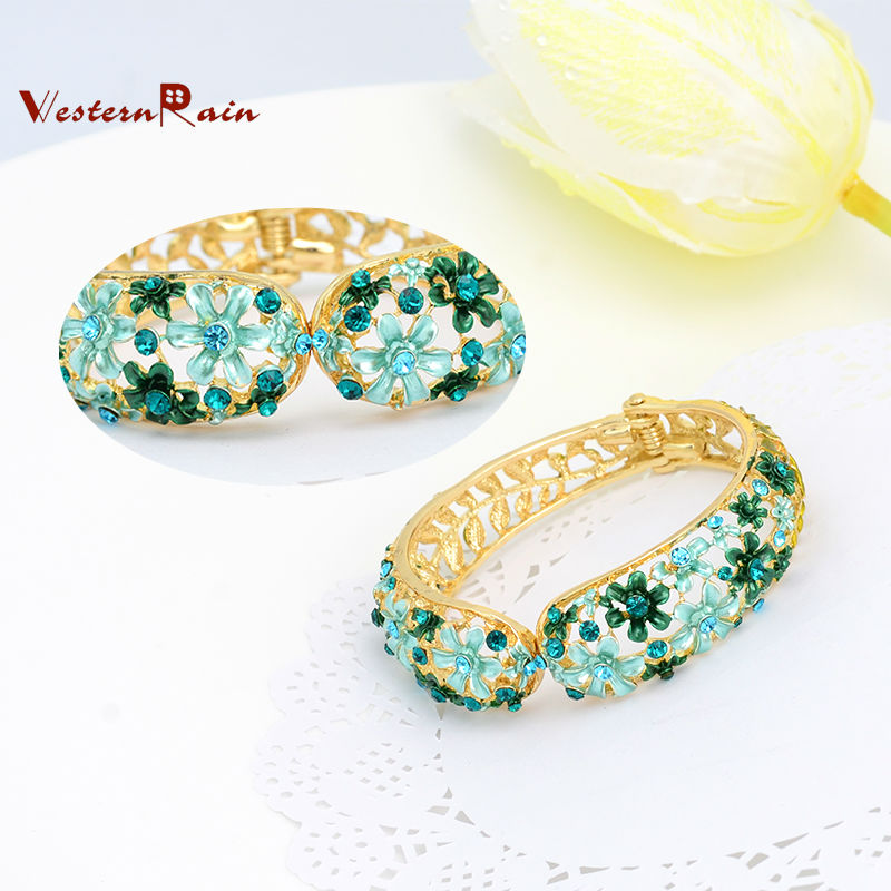 WesternRain Spring Green Small Flower Lady Elegant Bracelet&Bangle,Canada Party Women Fashion Bangle Jewelry B522(China (Mainland))