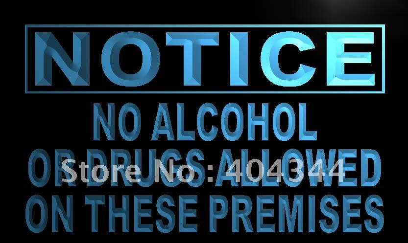 LN706- Notice No Alcohol or drugs LED Neon Light Sign home decor crafts(China (Mainland))