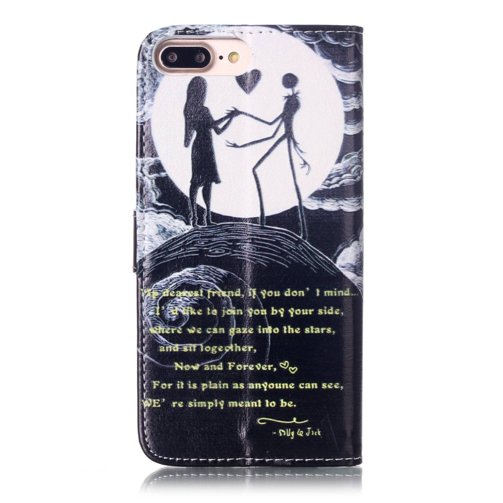 For Iphone 7 Plus Cute Cartoon 3D Lovers Ghost Tower Leather Wallet Flip Fundas Cases For Apple Iphone 7 7plus 7 Plus Cover Case