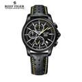 Reef Tiger RT Mens Sport Quartz Watches with Chronograph and Date Black Steel Casual Stop Watch