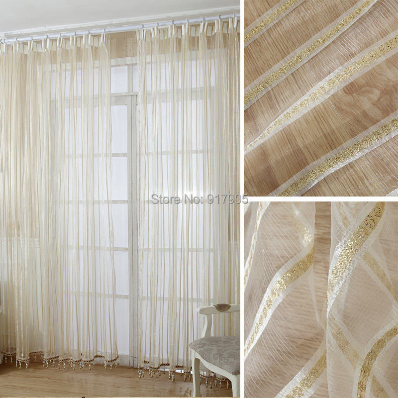 Luxury Modern Volie Sheer/Tulle Curtains For Living Room, Gold And ...