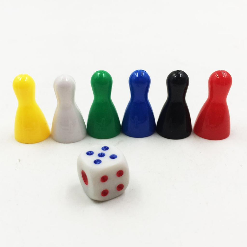 6Pcs Colorful Pieces Pawn Chess Plastic Pieces Dice Set for Board Card Games Plastic Chess Piece Playing Dice